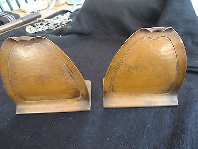 Antique Arts And Crafts Signed Hammered Copper Book Ends Fine Patina