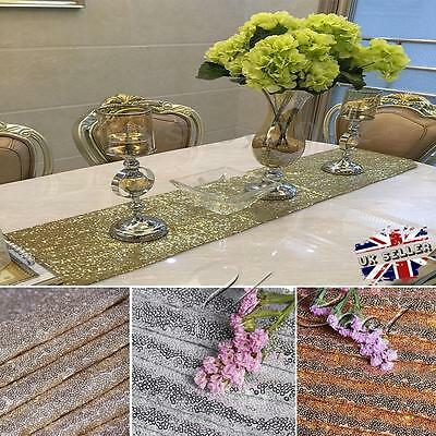 """Gold/Silver Glitter Sequin Table Runner Sparkly Wedding Party Decor 12""""x108"""""""