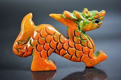 Delicate Chinese old jade carved Auspicious dragon statue  JP163