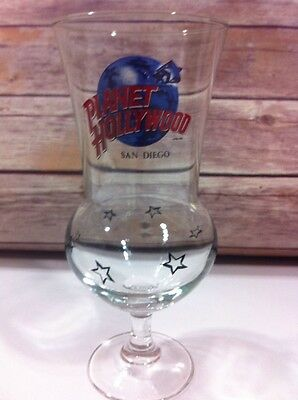 Planet Hollywood San Francisco California Hurricane Glass Goblet Cup 1990