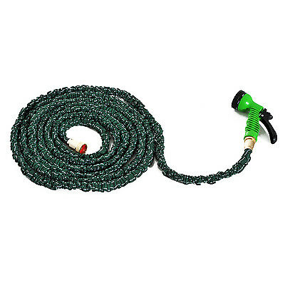 Outsunny 50ft Expandable Garden Water Hose 7-Pattern Sprayer Nozzle Dark Green