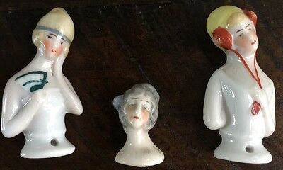 3 Vintage Half Dolls For Pin Cushions Made In Germany Numbered Hand Painted