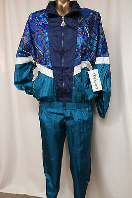WILSON Vintage Jogging Suit Tracksuit Womens M Teal/Navy/Purple NWT Windbreaker