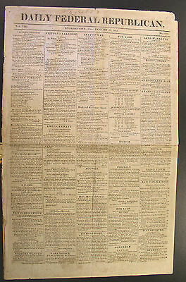 1814 Daily Federal Republican Newspaper- RUNAWAY SLAVES & NEGROES WANTED Ads