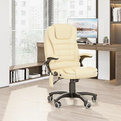 HOMCOM Heated Vibrating Massage Office Chair High Back Leather Executive Beige
