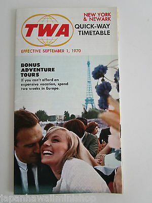 Trans World Airlines TWA Quick-Way Timetable Schedule New York & Newark USA 1970
