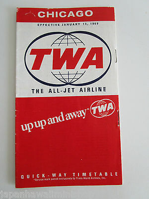 Trans World Airlines TWA Quick-Way Timetable Schedule Chicago USA January 1969