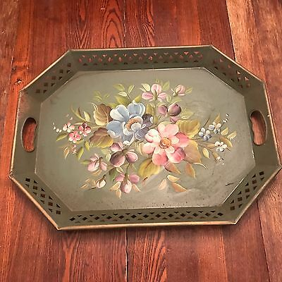 Toleware Green Metal Serving Tray Hand Painted Vintage Antique