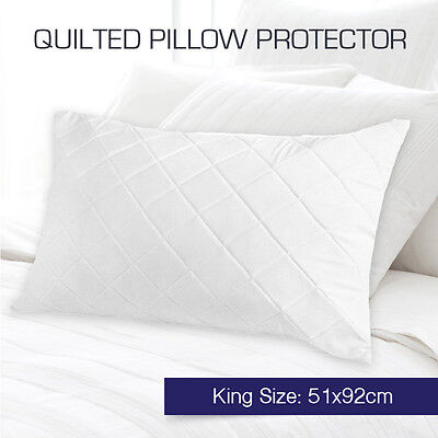 Aus Made Quilted King Size Pillow Protectors Case Zipper Cotton Cover 51 x 92cm