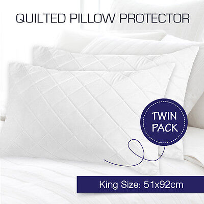 2 x Aus Made Quilted King Size Pillow Protectors Case Cotton Cover 51 x 92cm