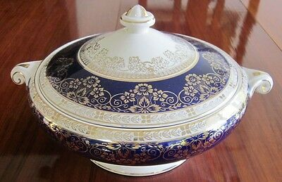 Antique Tureen, Cobalt Band, Gold Flowers & Leaves, Crown Ducal