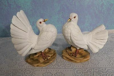 Pair Of Ethan Allan White Dove Ceramic Figurine /Sculptures