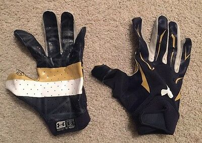 2014 Used Team Issued Notre Dame Football Under Armour Gloves