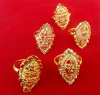 Ethnic South Indian Women's Fashion Jewelry Gold Plated Rings Lot Set 5Pcs rr3