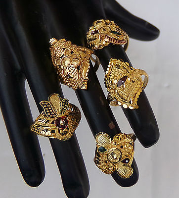 Traditional Bridal Jewelry Set South Indian Gold Plated Fashion Rings Lot rr11