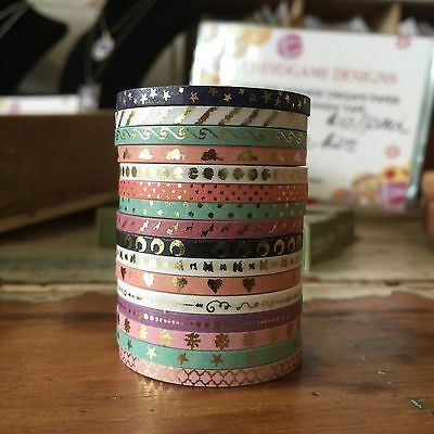 Washi Tape Slim Thin Skinny Foil 16 Roll Set Each 3Mm Wide X 5Mtrs Craft Planner