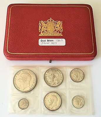 Great Britain Proof Set 1927 UNC, 6 Coins With Case