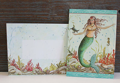 Mermaid Hideaway Note Cards w/Decorative Envelopes. 10 cards. Beach/Nautical