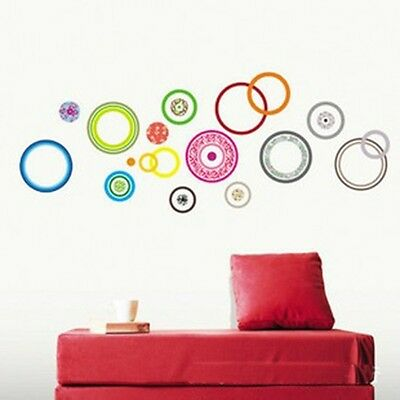 Multicolor Circles Rings Wall Decal Sticker Home Decor Kids Room Vinyl Art