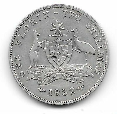 1932   Australian Florin Coin  - Average Used Condition  -  Hard Date