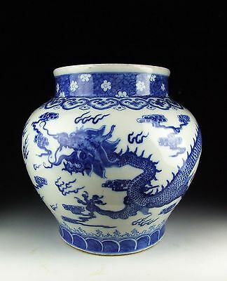 China Antiques Blue&white Porcelain Pot With Dragon Pattern