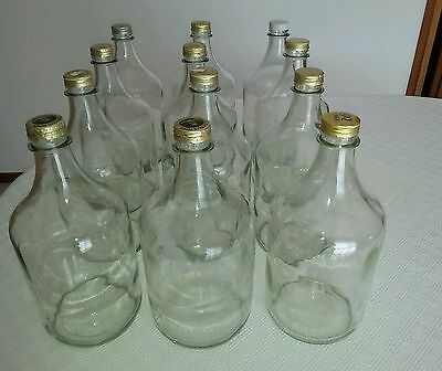 Clear Glass 2L Flagon Bottle 2 Litre Spirits Wine Storage Home Brew Bottle Beer