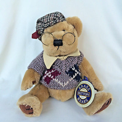"""1996 Brass Button Bears Collection Sherwood 12"""" Teddy Bear Wearing Glasses"""