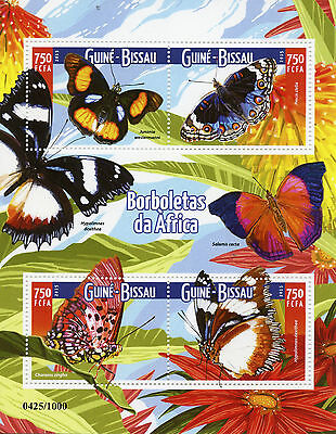 Guinea-Bissau 2015 MNH Butterflies of Africa 4v M/S Insects Pansy Stamps