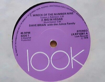 """Dave Brian Wreck of The Number Nine 7"""" Vinyl Single Look Label (Ex)"""