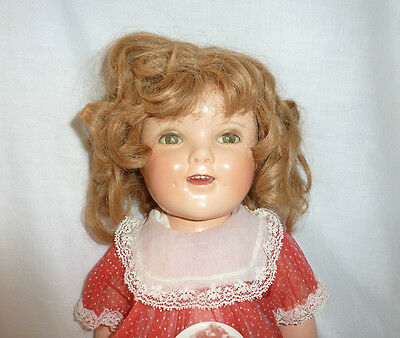 """Shirley Temple VINTAGE 20"""" Ideal COMPOSITION DOLL w/ clothes and button"""