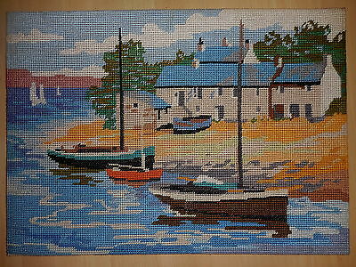 Vintage Tapestry Completed Penelope Cornish Creek E/p 524 Craft Picture Boats