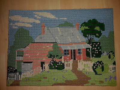 Vintage Tapestry Completed Sugargum Australian Cottage Forest Glen N.s.w.