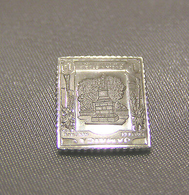Solid Silver Stamp Jamaica 1919-1921 Victoria Statue One-Shilling Frame Inverted