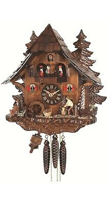 Quartz Cuckoo Clock Black Forest house with moving wood chopper.. EN 473 QMT NEW