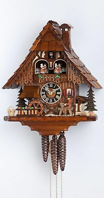 Cuckoo Clock Black Forest house with moving wood chopper and mill.. HO 6266T NEW