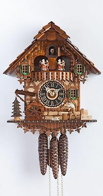 Cuckoo Clock Black Forest house with moving wood chopper and mill .. HO 696T NEW