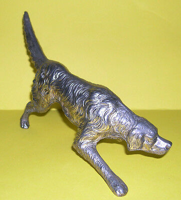 Silvered White Metal Figurine - Hunting Dog on The Scent - Well Detailed Model.