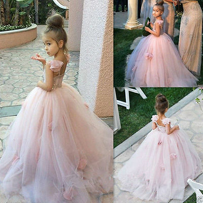 Pink Flower Girl Bridesmaid Wedding Communion Party Prom Princess Pageant Dress