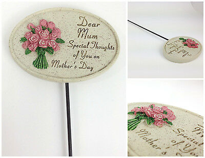 Mothers Day Oval Rose Memorial Stick, Stake Graveside Tribute, Remembrance