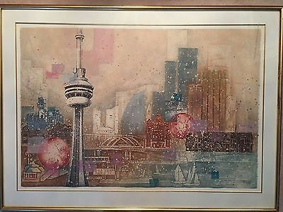Toronto Skyline Painting Framed Art On Mulberry - Signed & Numbered