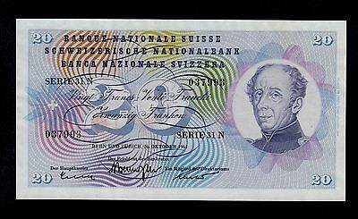 SWITZERLAND  20  FRANKEN  1961  PICK # 46i  AU  BANKNOTE.