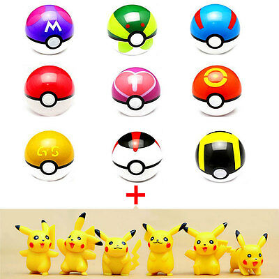 Pokemon Pikachu Kugel 7cm Anime Aktion pokeball Toys Super Master