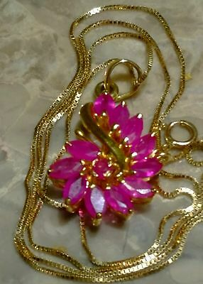 """14K Solid Yellow Gold Natural Ruby Pendant And Box Chain Necklace 18"""" Long"""