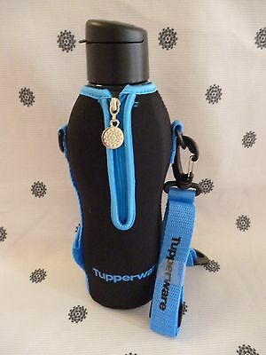 Tupperware Eco Drink Water Bottles 750ml with Insulated Cover Blue Black  New