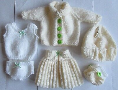 Handknitted Cream and White Dolls / Premature Baby Clothing Set