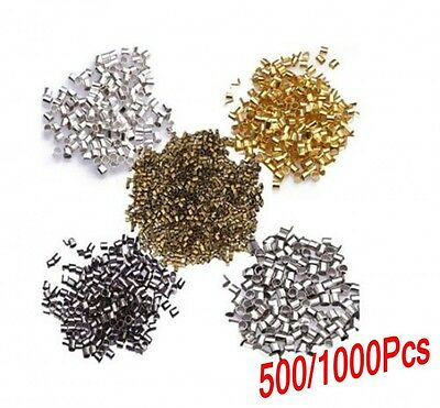 1000pcs Wholesale Silver/Gold/Black/Bronze/Copper Tube Crimp Beads DIY 1.5/ 2mm