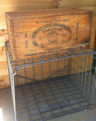 Vintage Timber Crate Old Explosives Box Industrial