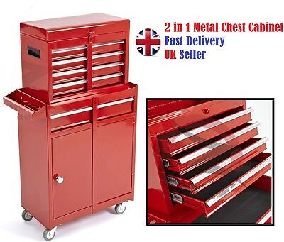 New 2 In 1 Metal Tool Box Chest Roller Cabinet Storage Organizer Garage drawer