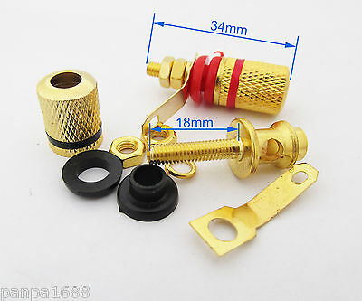 8pcs 4mm Banana Jack Speaker Binding Post Long gold copper Terminal Connector-UK