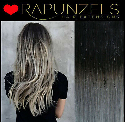 "Hair extensions weave weft, Black to Silver Ombre, real human remy hair 18"", 20"""